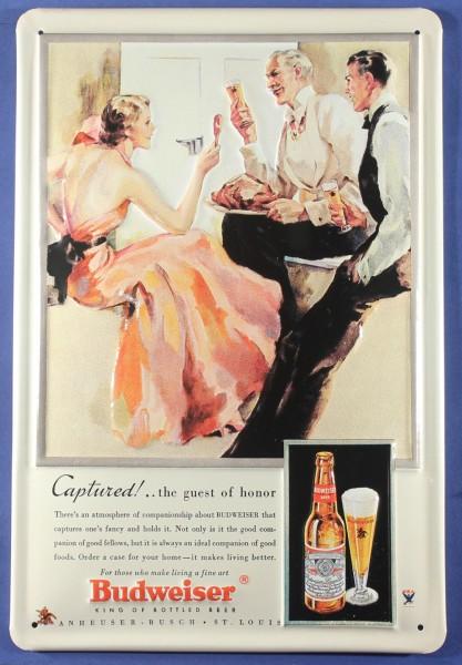 Blechschild Budweiser Beer Captured Bier Schild Kneipenschild