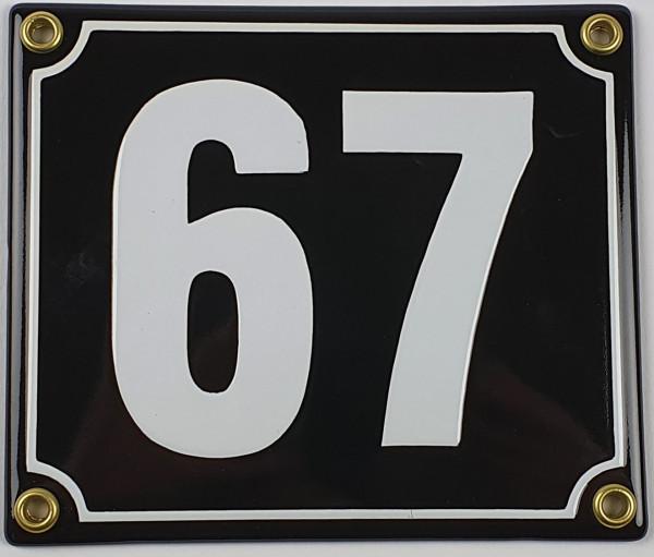 67 schwarz / weiß Blockschrift 14x12 cm sofort lieferbar Schild Emaille Hausnummer