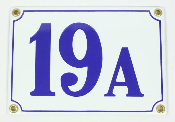 19A weiß/blau Clarendon 12x18 cm sofort lieferbar Schild Emaille Hausnummer
