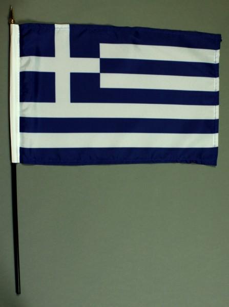 Tischflagge Griechenland 20x30 cm optional mit Tischflaggenständer aus Mahagoni Holz