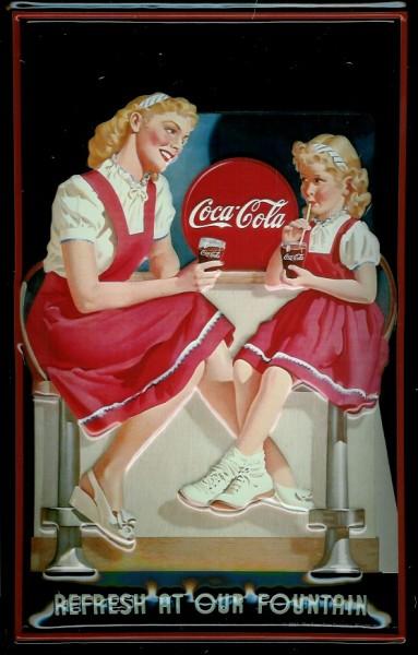 Blechschild Coca Cola Refresh at our Fountain Frau mit Kind Schild Coke retro Werbung