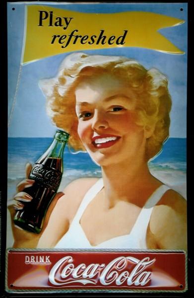 Blechschild Coca Cola Play Refreshed Strand Meer Werbeschild Schild Nostalgieschild