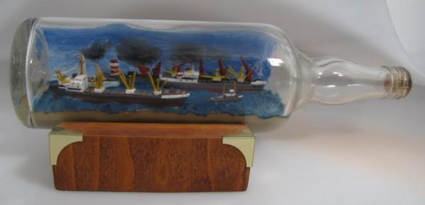 Buddelschiff 2 Dampfer mit Hafen 0,7 Liter