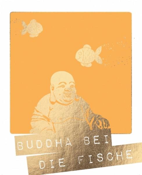 Postkarte Buddha bei die Fische Goldfolie