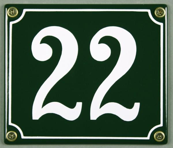 Hausnummernschild 22 grün 12x14 cm sofort lieferbar Schild Emaille Hausnummer Haus Nummer Zahl Ziffe