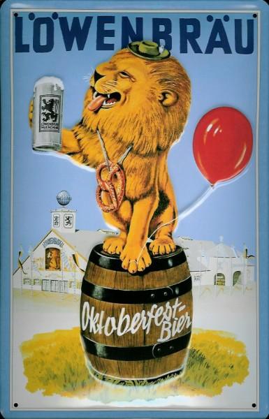 Blechschild Löwenbräu Bier München Oktoberfest Löwe Schild retro Werbeschild