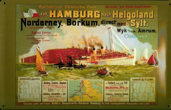 Blechschild Hamburg Helgoland Fähre Ausflugsschiff Dampfer Schiff Schild Nostalgieschild