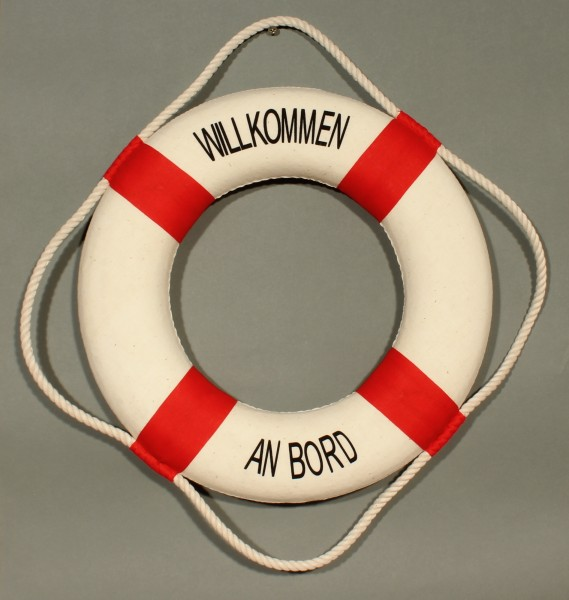 Rettungsring Deko rot 25cm Willkommen an Bord