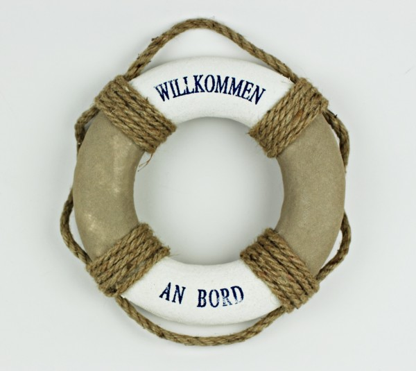 Rettungsring Deko natur 20cm Willkommen an Bord Tau