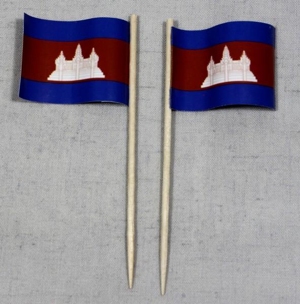 Party-Picker Flagge Kambodscha Papierfähnchen in Spitzenqualität 50 Stück Beutel