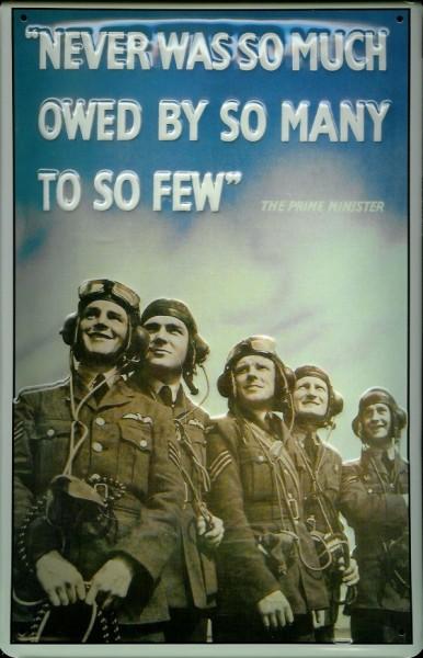 Blechschild Nostalgieschild Never was so much Piloten British Airforce