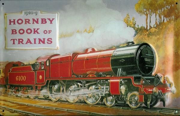 Blechschild Nostalgieschild Hornby book of trains rote Lokomotive