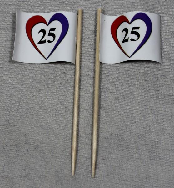 Party-Picker Flagge Herz 25 Silberhochzeit Papierfähnchen in Spitzenqualität 50 Stück Beutel