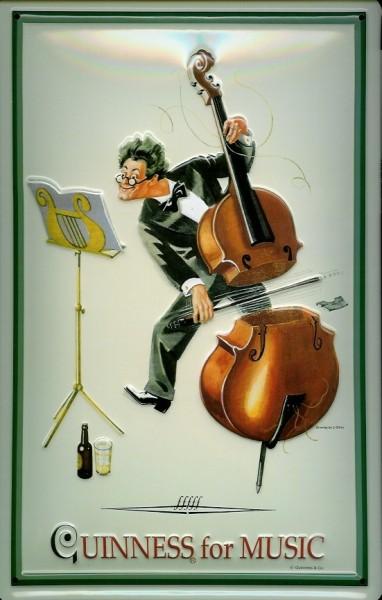 Blechschild Guinness Beer for music Cello Nostalgie Schild retro Werbeschild