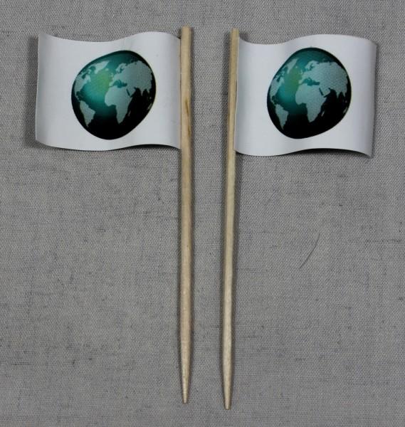 Party-Picker Flagge Globus Weltkugel Papierfähnchen in Spitzenqualität 50 Stück Beutel