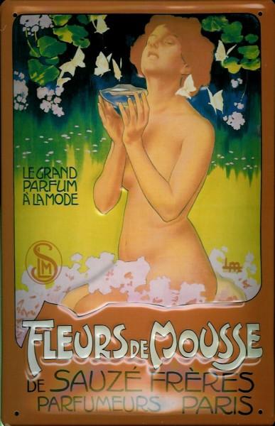 Blechschild Fleurs de Mousse Parfum Paris Frau Blätter Schild retro Werbeschild Nostalgieschild