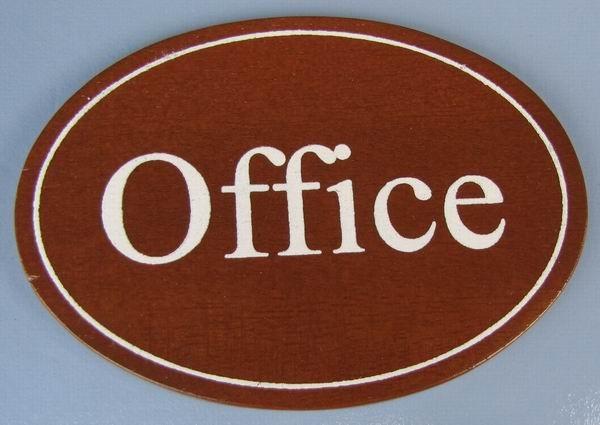 Ovales Holz - Türschild Office 7x10 cm dunkles Holzschild