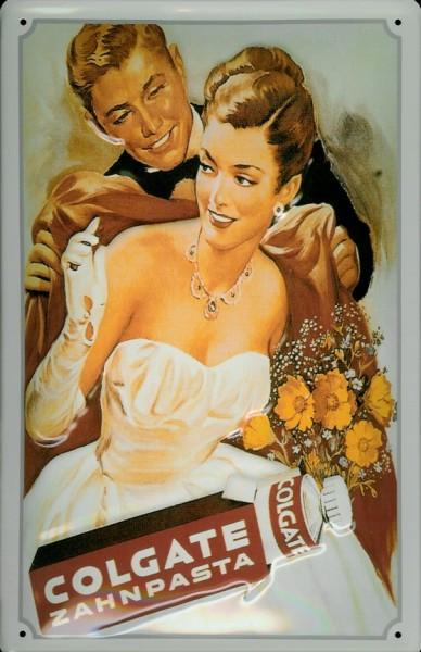 Blechschild Colgate Zahnpasta Dame Abendkleid Frau im Ballkleid Schild retro Werbeschild Nostalgiesc
