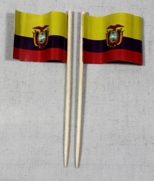 Party-Picker Flagge Ecuador Papierfähnchen in Spitzenqualität 50 Stück Beutel