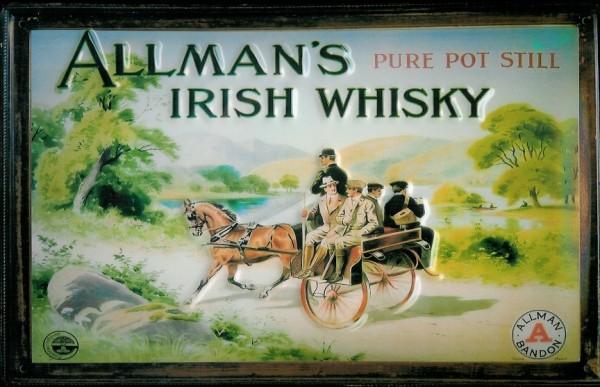 Blechschild Allman's Irish Whisky Nostalgieschild retro Schild Irland