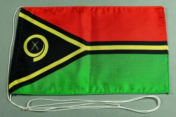 Tischflagge Vanuatu 25x15 cm optional mit Holz- oder Chromständer Tischfahne Tischfähnchen