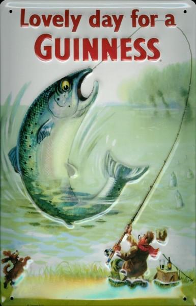 Blechschild Guinness Bier Fisch und Angler retro Schild Nostalgieschild