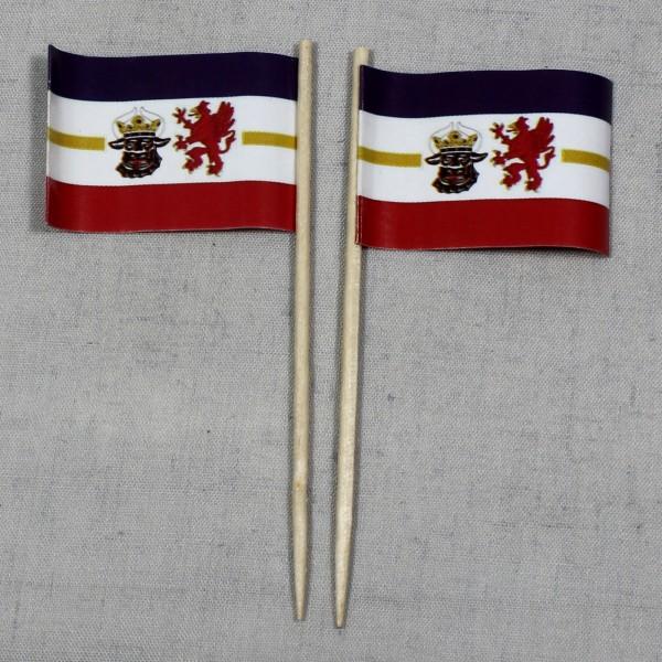 Party-Picker Flagge Mecklenburg Vorpommern Papierfähnchen in Spitzenqualität 50 Stück Beutel
