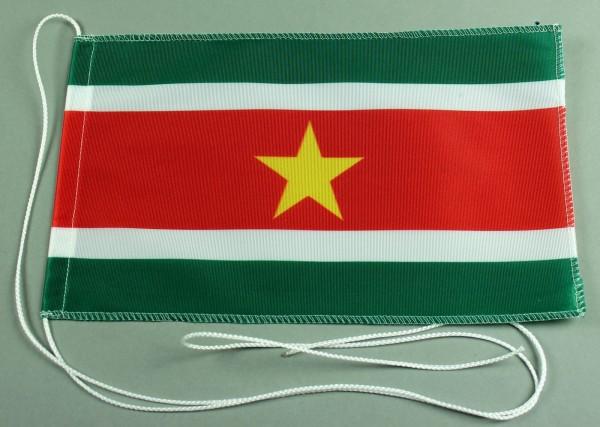 Tischflagge Surinam 25x15 cm optional mit Holz- oder Chromständer Tischfahne Tischfähnchen