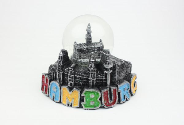 Schneekugel mit Hamburg Rathaus Metall-Optik Schüttelkugel Glitzerkugel Andenken