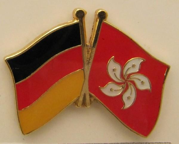 Hong Kong / Deutschland Freundschafts Pin Anstecker Flagge Fahne Nationalflagge