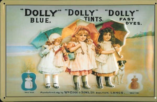 Blechschild Nostalgieschild Dolly Blue Tints Kinder Hund