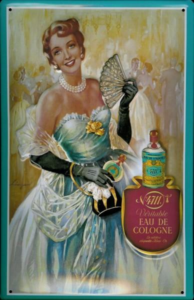 Blechschild 4711 Ball Dame Eau de Cologne Parfum Kosmetik kölnisch Wasser Schild Werbeschild Nostalg