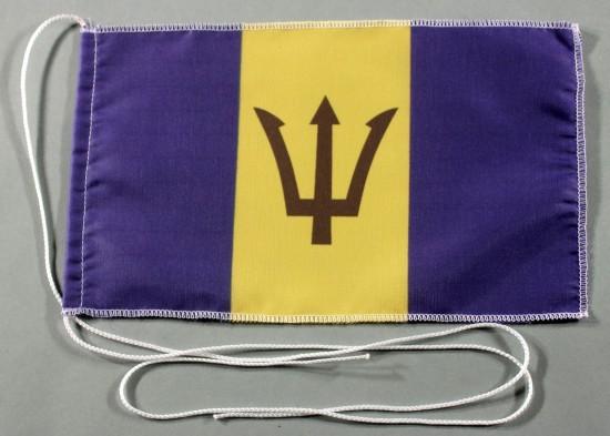 Tischflagge Barbados 25x15 cm optional mit Holz- oder Chromständer Tischfahne Tischfähnchen