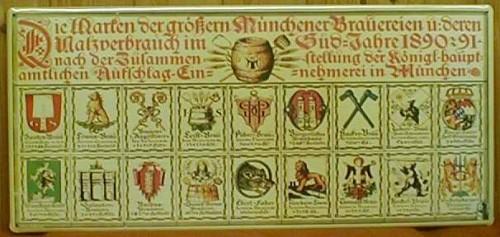 Blechschild Münchener Brauereien Bier Wappen Schild Brauereiwappen