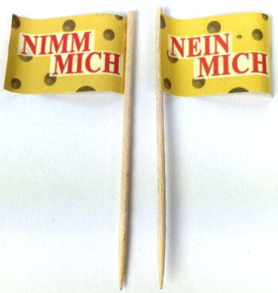 2er Set Party-Picker Flagge Nimm Mich - Nein Mich Papierfähnchen in Spitzenqualität 2x 50 Stück Beut