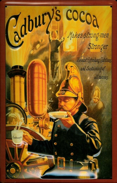 Blechschild Cadburys Cocoa Feuerwehr Mann Makes strong men Stronger Schild