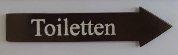 Türschild Toiletten dunkles Holz Pfeilform 3,5x15 cm