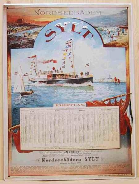 Blechschild Sylt Fahrplan Dampfer Schiff Reederei Schild Nostalgieschild