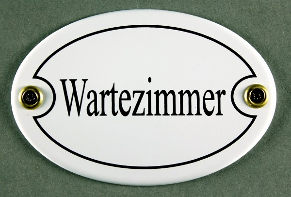 Emaille Türschild Wartezimmer weiss oval Schild