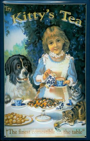 Blechschild Kitty Tea Hund Katze Tisch Tee Retro Schild Nostalgieschild