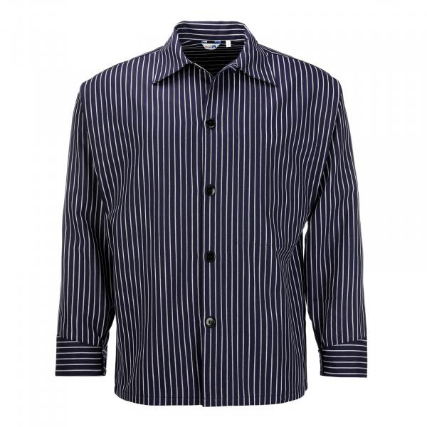 Hamburger Kittel breit gestreift durchgeknöpftes Fischerhemd Hemd