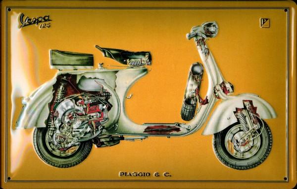 Blechschild Vespa Piaggio Motorroller Schild Moped Werbeschild Nostalgieschild