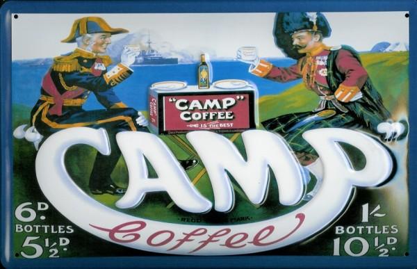 Blechschild Camp Coffee Shop Kaffee Schild Dekoration Nostalgieschild