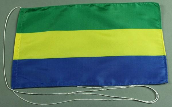 Tischflagge Gabun 25x15 cm optional mit Holz- oder Chromständer Tischfahne Tischfähnchen