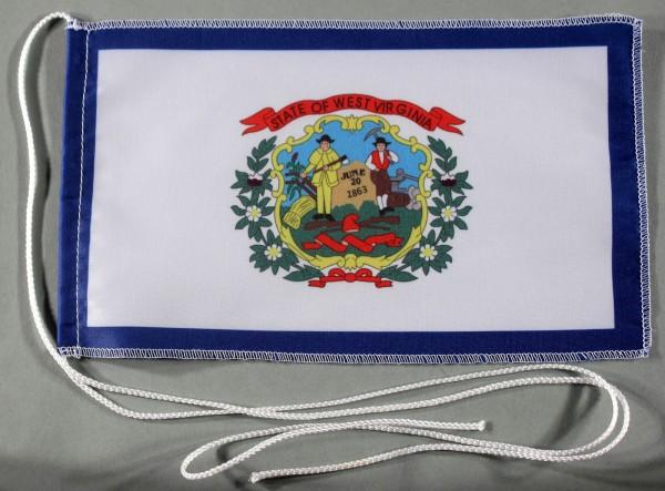 Tischflagge West Virginia USA Bundesstaat US State 25x15 cm optional mit Holz- oder Chromständer Tis