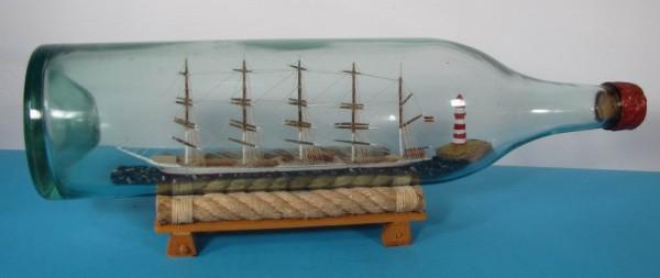 Buddelschiff 5-Mast Bark ohne Segel in 3 Liter Flasche