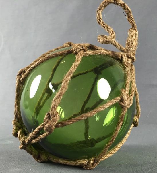 Deko Fischerkugel aus Glas grün 12,5 cm Tauwerk Netz