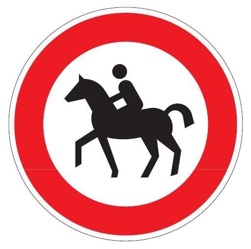Verkehrsschild / Verkehrszeichen Verbot für Reiter 420 mm rund Aluminium reflektierend Typ 1 VZ 258