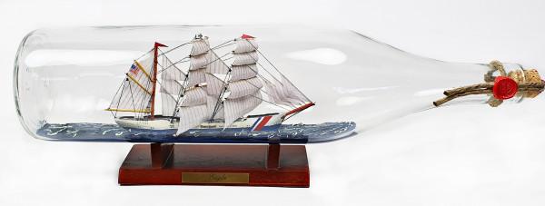 Eagle US Coastguard 3 Liter runde Asbach - Flasche Buddelschiff Flaschenschiff