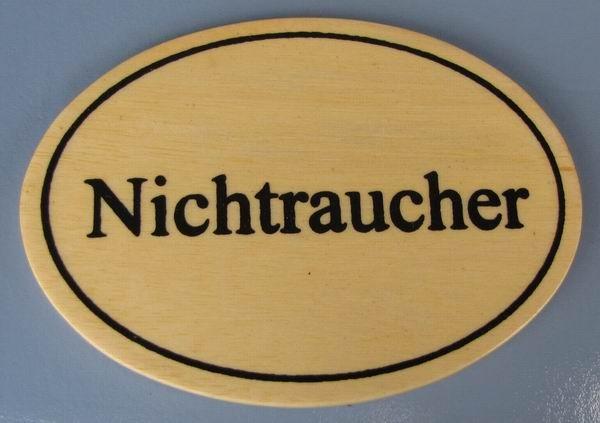 Ovales Holz - Türschild Nichtraucher 7x10 cm helles Holzschild